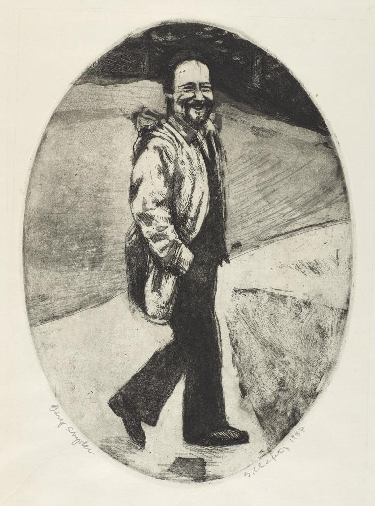 Sid Chafetz, Gary Snyder, etching, printmaking, Sherrie Gallerie