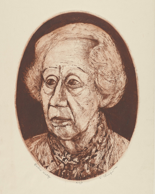 Sid Chafetz, Eudora Welty, color etching, printmaking, Sherrie Gallerie
