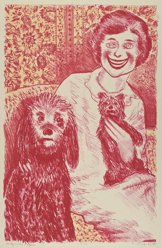 Sid Chafetz, Lady and Dogs, color lithograph, printmaking, Sherrie Gallerie