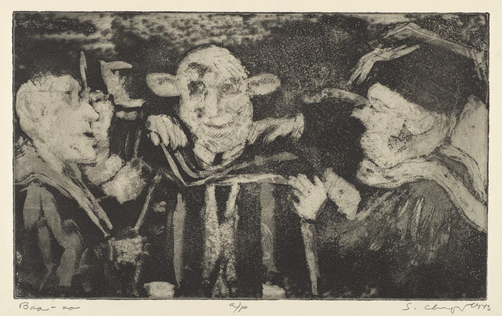 Sid Chafetz, Baa, etching, printmaking, Ohio State University, Sherrie Gallerie