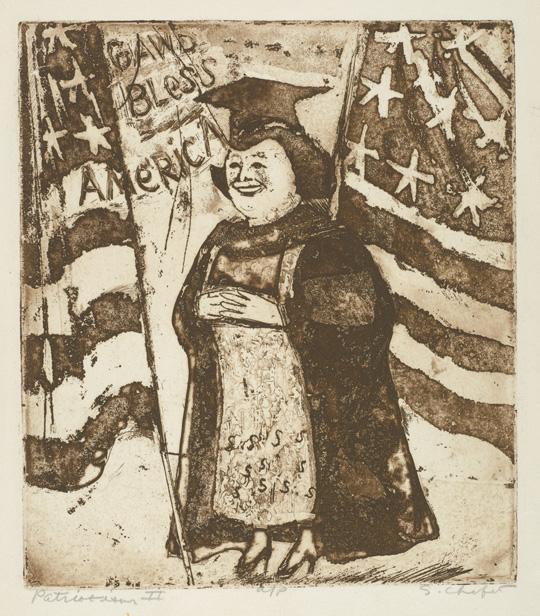 Sid Chafetz, Patriotism II, etching, political, printmaking, Sherrie Gallerie
