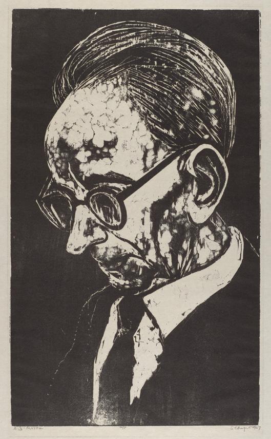 Sid Chafetz, A.J. Muste, woodcut, printmaking, Sherrie Gallerie