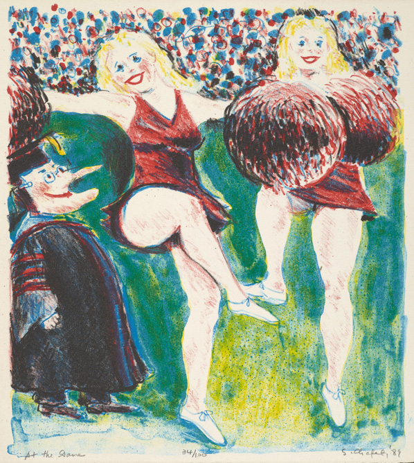 Sid Chafetz, At the Game, lithograph, printmaking, Ohio State University, Sherrie Gallerie