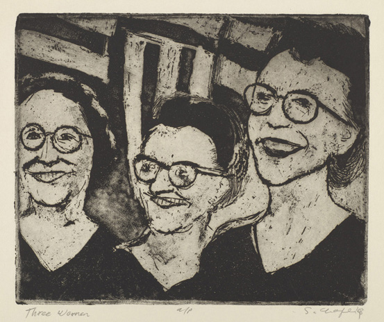 Sid Chafetz, Three Women, etching, political, printmaking, Sherrie Gallerie