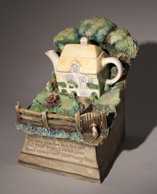 Jack Earl, Teapot, The Sun Shines, ceramic, porcelain, Sherrie Gallerie