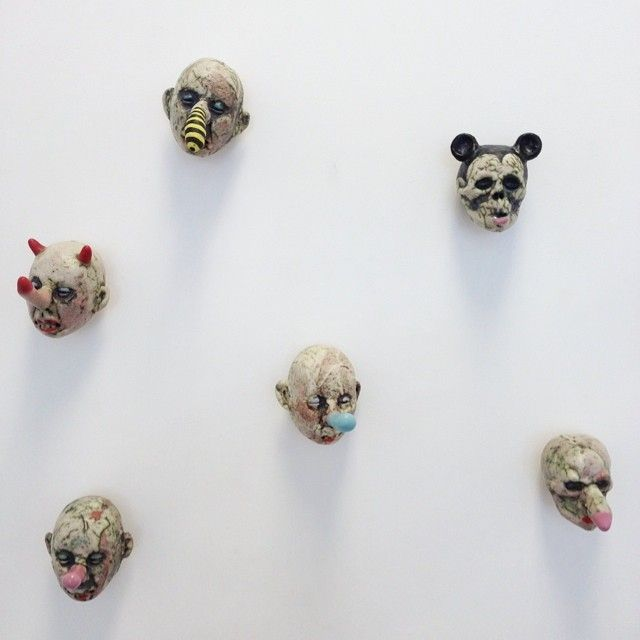 Tom Bartel, Small Heads, ceramic sculpture, Sherrie Gallerie