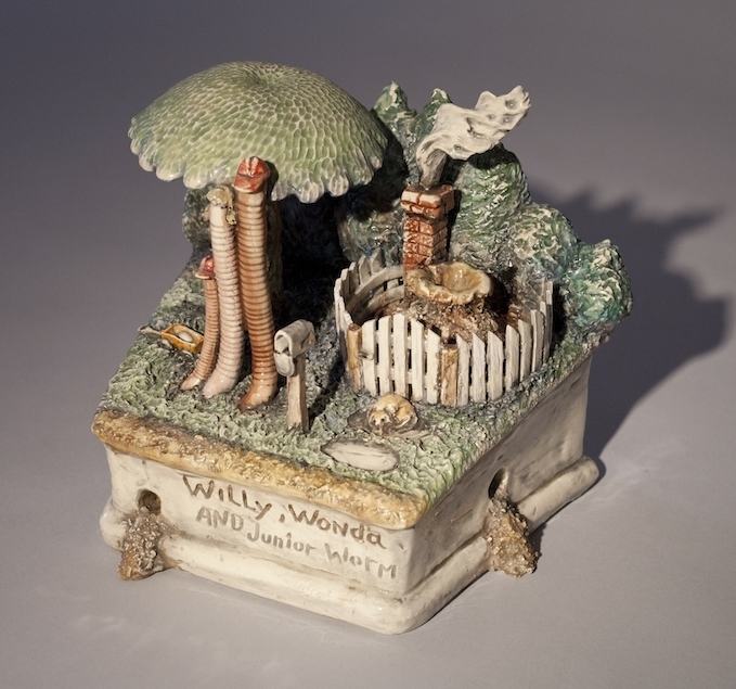 Jack Earl, Willy, Wonda, and Junior Worm, porcelain, ceramic, Sherrie Gallerie