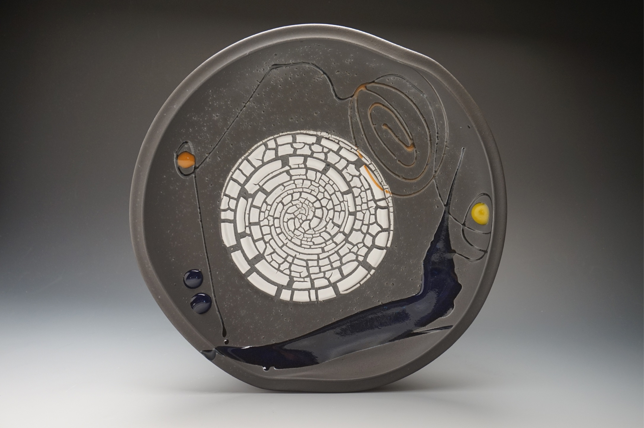 Tom Coleman, Large Plate with White Crackle Glaze, porcelain ceramic vessel, pottery, Sherrie Gallerie