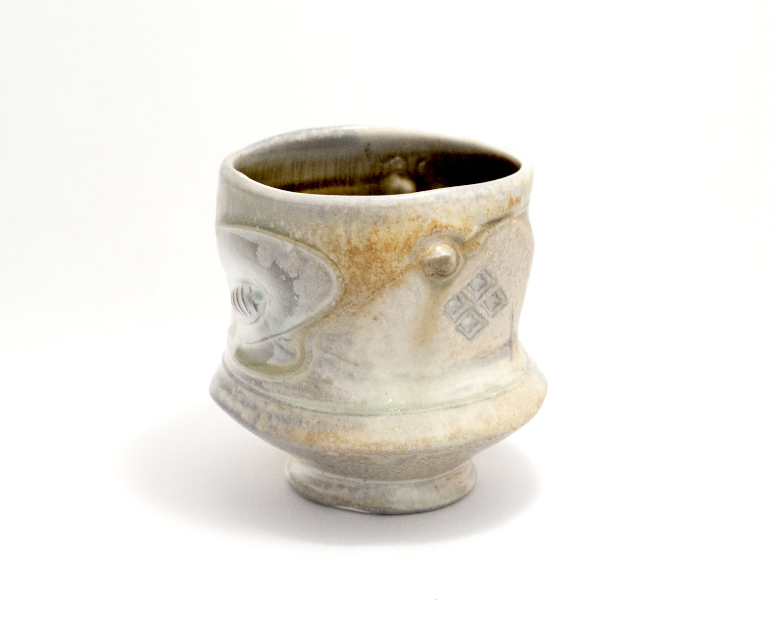 Tom Coleman, Wood Fired Tea Bowl, porcelain ceramic vessel, functional, pottery, cup, Sherrie Gallerie