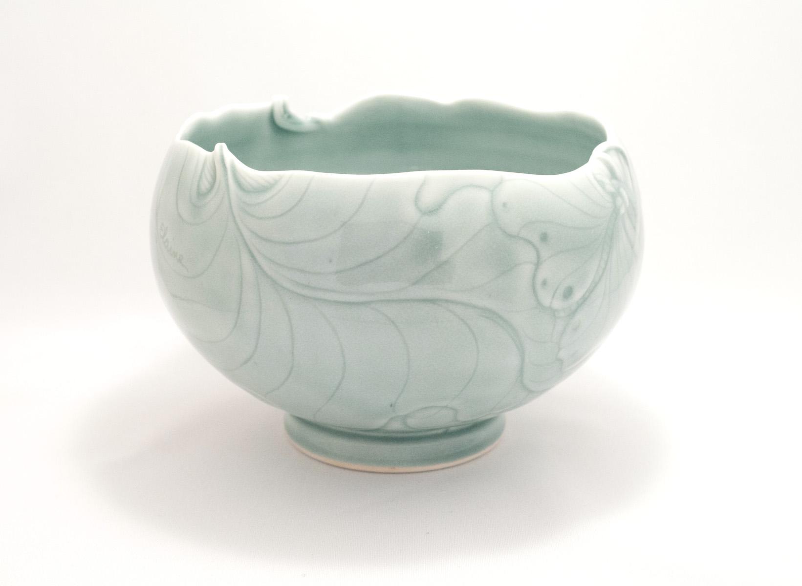 Elaine Coleman, Green Frog Jar, porcelain ceramic, celadon glaze, functional, pottery, Sherrie Gallerie