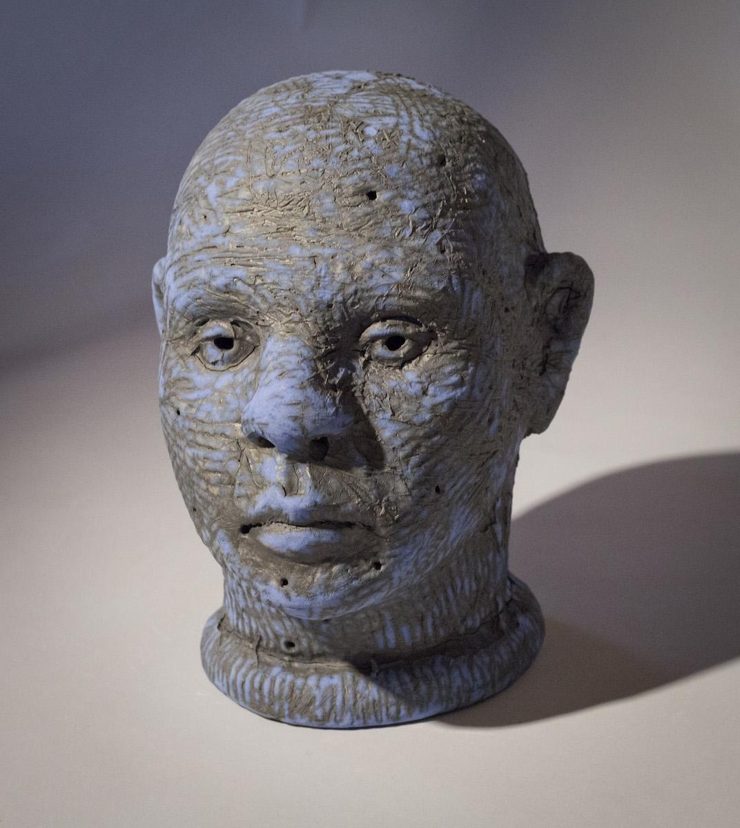Tom Bartel, Blue Head, ceramic sculpture, Sherrie Gallerie