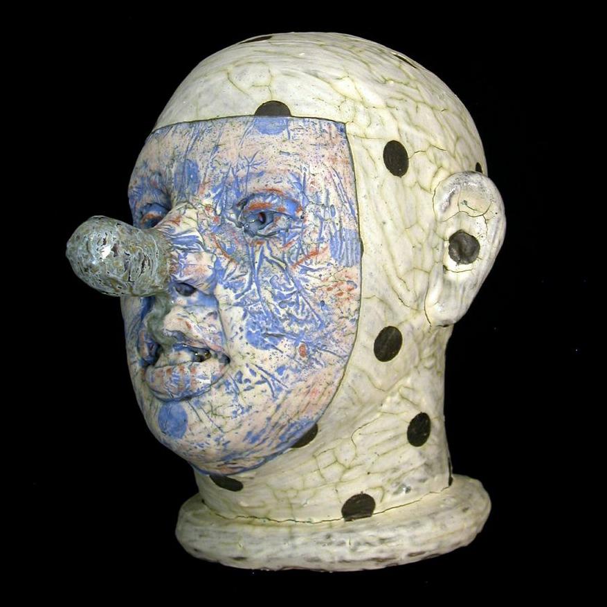 Tom Bartel, Head, ceramic, figurative, sculpture, Sherrie Gallerie
