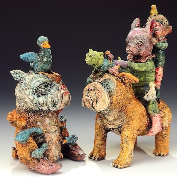 Janis Mars Wunderlich, Nursing Dog and Dog Walk, ceramic, earthenware, sculpture, figurative, Sherrie Gallerie