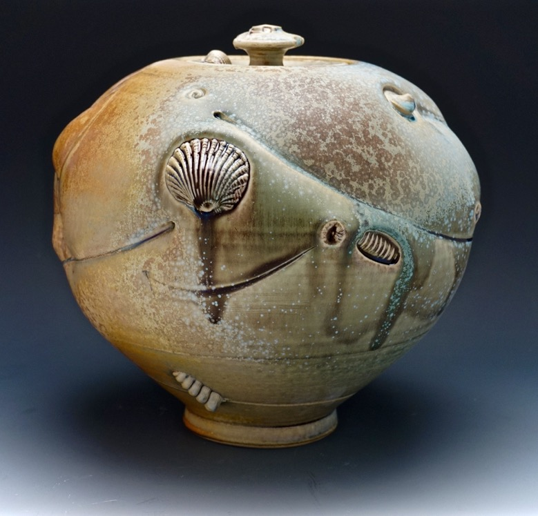 Tom Coleman, Crystal Matt Fossil Jar, porcelain ceramic vessel, pottery, Sherrie Gallerie