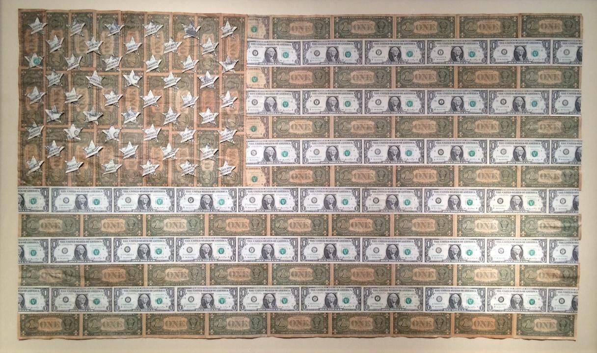 Christian Faur, Money Flag, dollar bills, political, contemporary art, Sherrie Gallerie