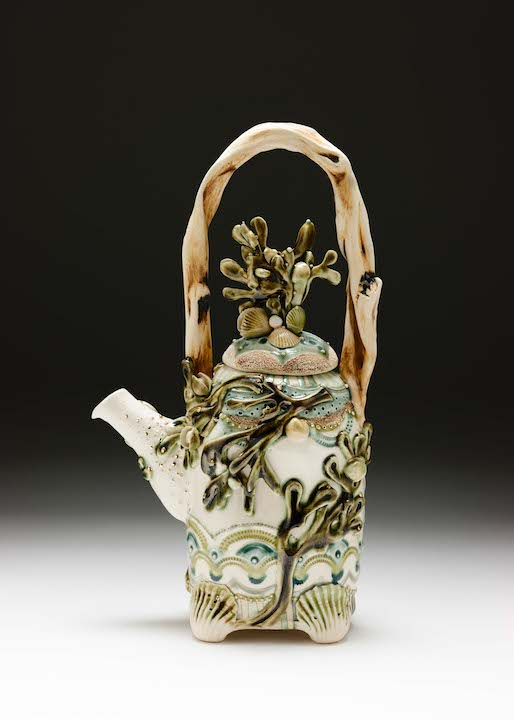 Claire Prenton, Seaweed Teapot, porcelain, ceramic, Sherrie Gallerie