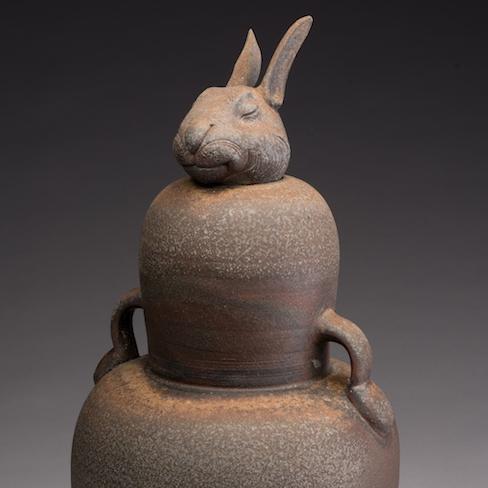 Joe Bova, Rabbit Jar, wood fired ceramic, figurative, Sherrie Gallerie