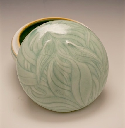 Elaine Coleman, Two Birds Ice White Jar, porcelain ceramic, celadon glaze, functional, pottery, Sherrie Gallerie