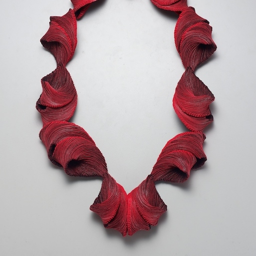 Yong Joo Kim, Crossing the Chasm Neckpiece, hand cut and assembled strips of Velcro hook and loop fastener, art jewelry, necklace, Sherrie Gallerie