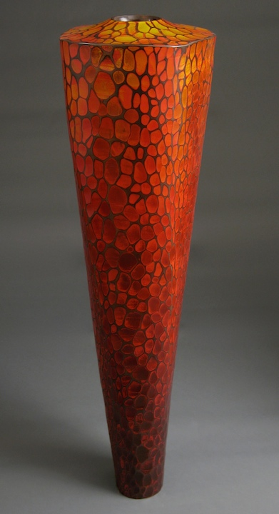Michael Bauermeister, Fiery, tinted lacquer, linden wood, woodworking, sculpture, Sherrie Gallerie