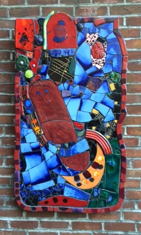 Russ Vogt, Orange Crescent Wall Piece, ceramic, outdoor sculpture, statue, midcentury, Sherrie Gallerie