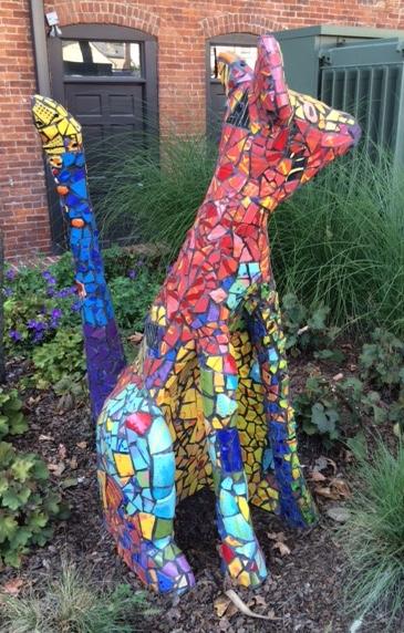 Russ Vogt, Tiled Kangaroo, ceramic, outdoor sculpture, statue, midcentury, Sherrie Gallerie