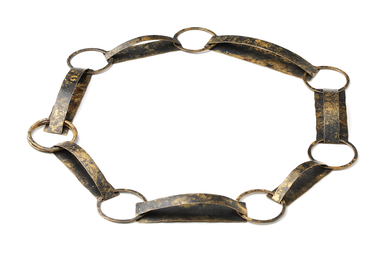 Biba Schutz, Art Jewelry, Necklace, Bronze, Tortoise Shell, Links Sherrie Gallerie