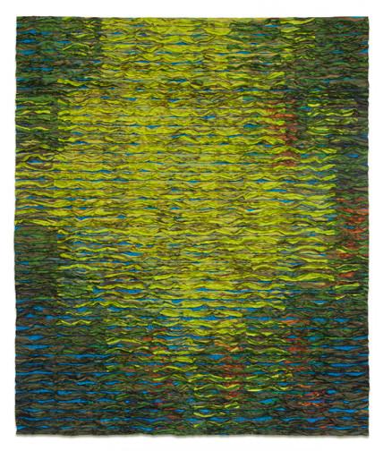 Tim Harding, Wasabi Colorfield, silk, fiber art, abstract, landscape, painting, Sherrie Gallerie