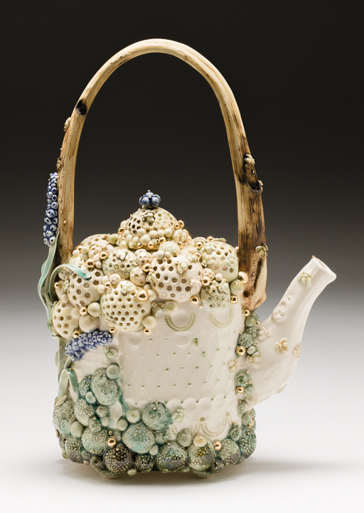 Claire Prenton, Honeycomb Teapot with Grape Hyacinth, porcelain, ceramic, Sherrie Gallerie