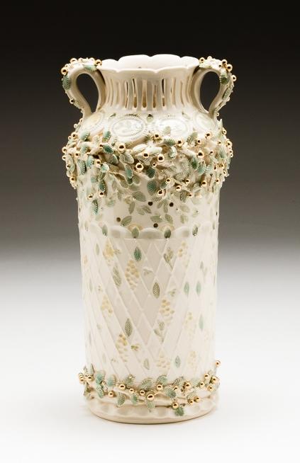 Claire Prenton, Gold Berries Vase, porcelain, ceramic, vessel, Sherrie Gallerie