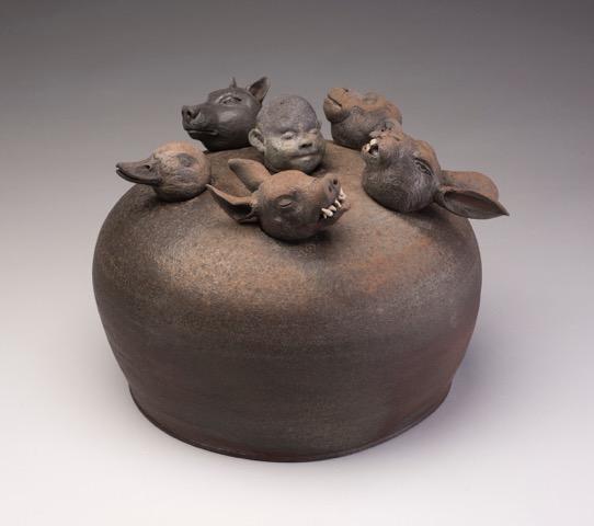 Joe Bova, Aesop's Game, ceramic sculpture, Sherrie Gallerie