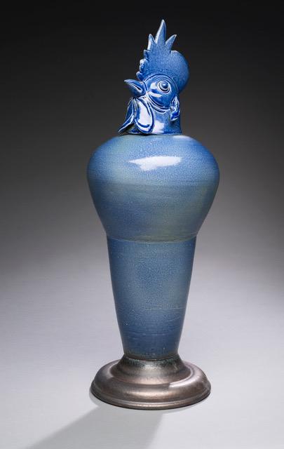 Joe Bova, Blue Roo, ceramic sculpture, Sherrie Gallerie