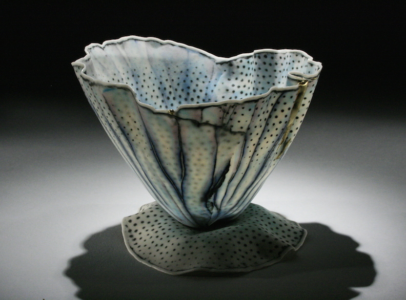 "Curtis Benzle, ""Floral 14,"" porcelain, 4x4.5x4.5 in, SOLD"