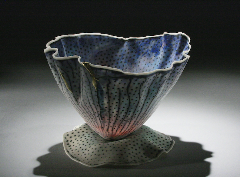 "Curtis Benzle, ""Floral 10,"" porcelain, 4x4.5x4.5 in, SOLD"