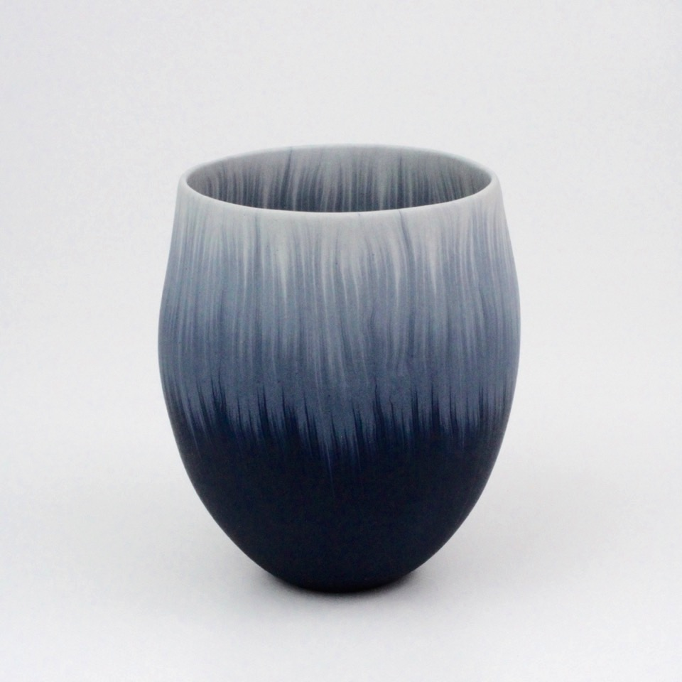 "Thomas Hoadley, ""Bowl 1102,"" colored porcelain, 5.25x5x4.25 in, $1100"
