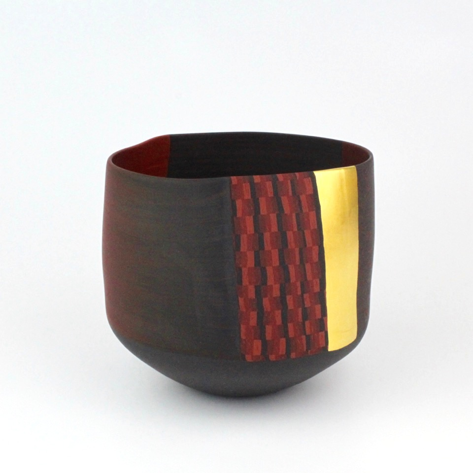 "Thomas Hoadley, ""Bowl 1122,"" colored porcelain, 6x7.5x6.5 in, $1600"