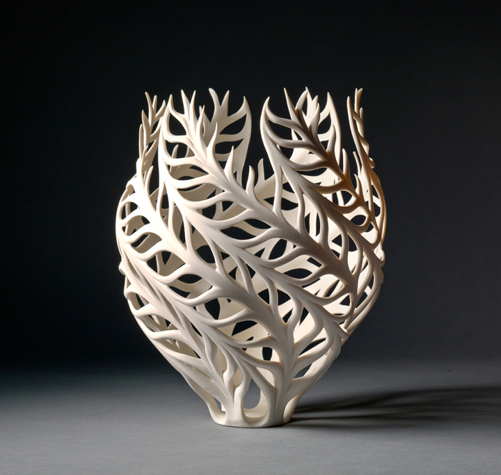 "Jennifer McCurdy, ""Coral Vessel,"" wheel-thrown, altered, and carved porcelain, 12x10x10 in, $3500"