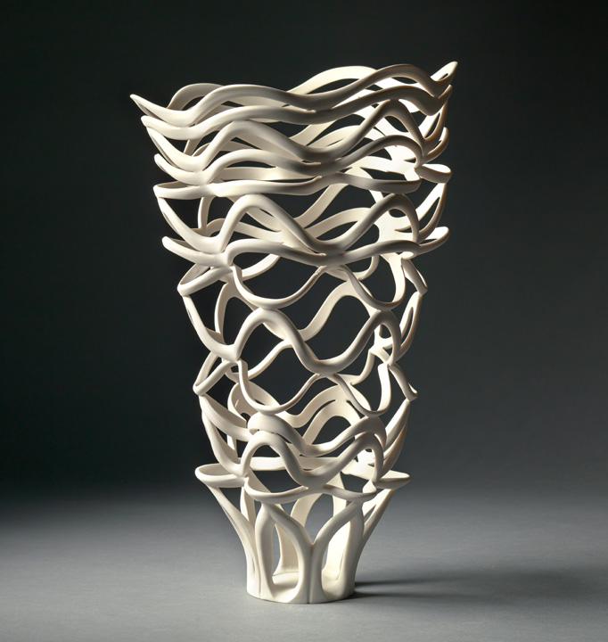 "Jennifer McCurdy, ""Radiatori Vessel 2,"" wheel-thrown, altered, and carved porcelain, 17x10x10 in, $3500"