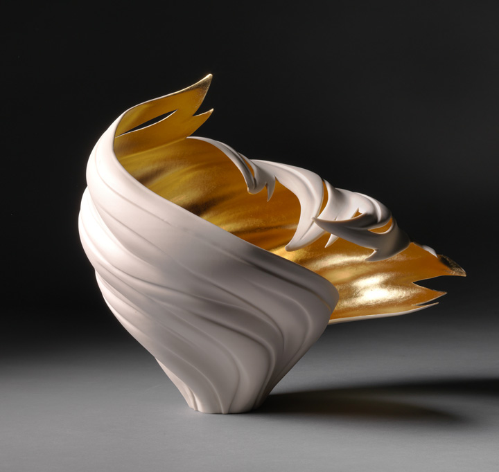 "Jennifer McCurdy, ""Gilded Tsunami Vessel 1,"" wheel-thrown, altered, and carved porcelain, 12.5x10x13 in, SOLD"