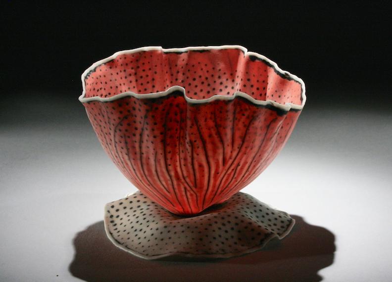 Curtis Benzle, Floral 12, porcelain ceramic vessel, Sherrie Gallerie