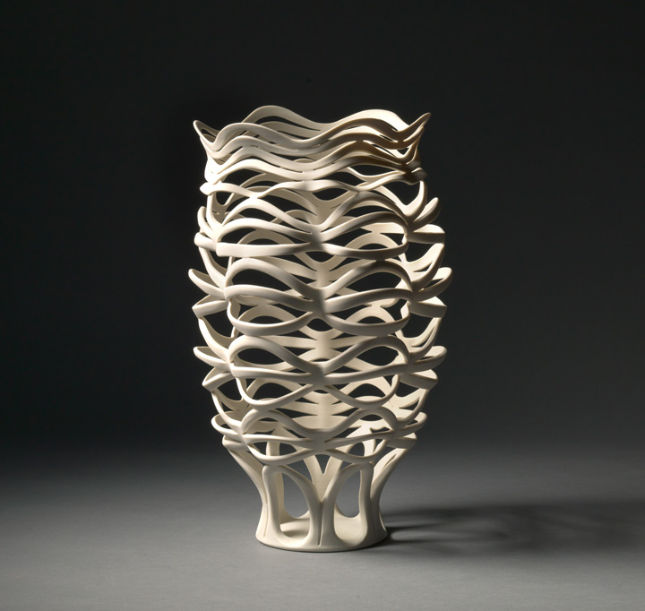 "Jennifer McCurdy, ""Radiatori Vessel 3"" wheel-thrown, altered, and carved porcelain, 16x10x10 in, $3500"