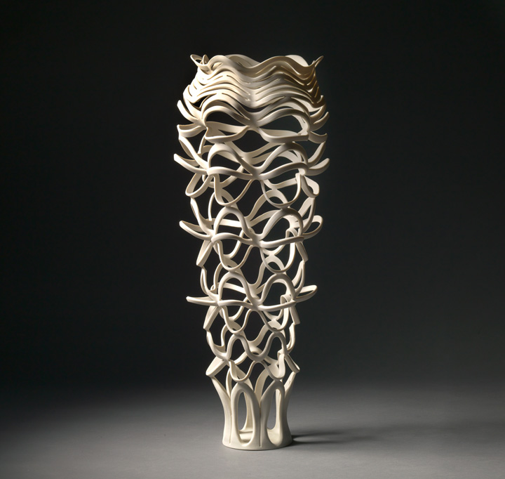 "Jennifer McCurdy, ""Radiatori Vessel 5"" wheel-thrown, altered, and carved porcelain, 24x10x10 in, $3800"
