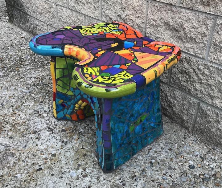 Russ Vogt, Tiled Bench, ceramic, outdoor sculpture, statue, midcentury, Sherrie Gallerie