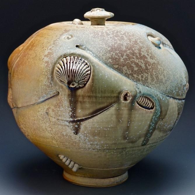 Tom Coleman, Crystal Matte Fossil Jar, wheel thrown porcelain and crystal matte glaze, ceramic, pottery, Sherrie Gallerie