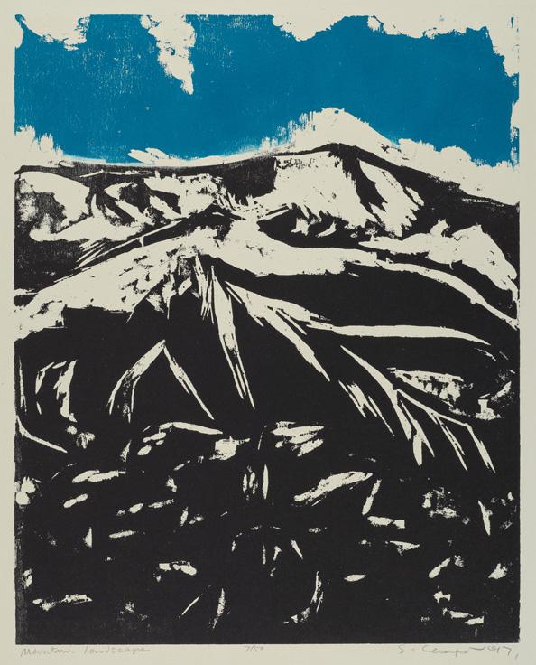 Sid Chafetz, Mountain Landscape, woodcut, printmaking, Sherrie Gallerie