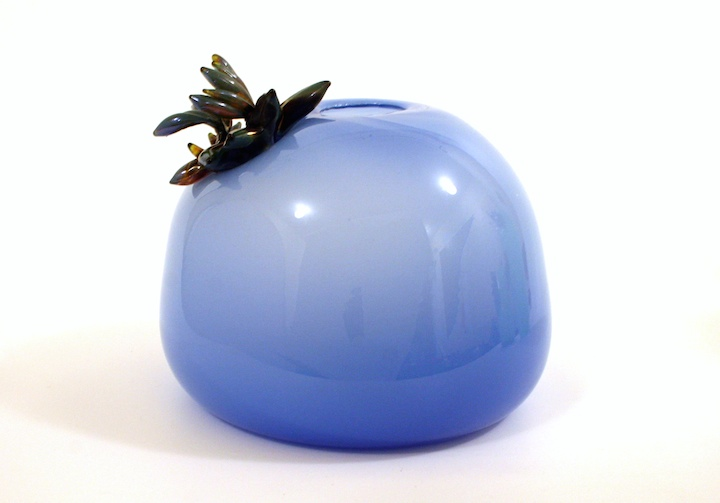Molly Burke, Royal Blue Succulent Vase, blown and hot sculpted glass, paperweight, sculpture, vessel, Sherrie Gallerie
