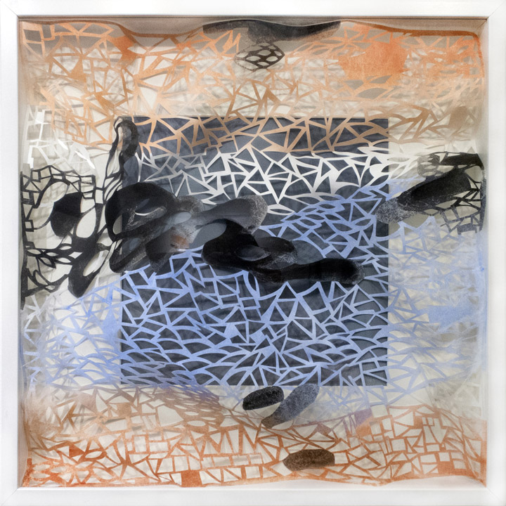 Leah Wong,  Moment of Focus 1 , ink acrylic, hand cut Tyvek paper, painting, abstract, geometric, Sherrie Gallerie