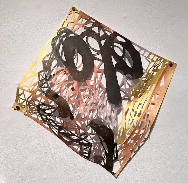 Leah Wong, River's Edge 2,  ink, acrylic, hand-cut Tyvek paper, painting, abstract, geometric, Sherrie Gallerie