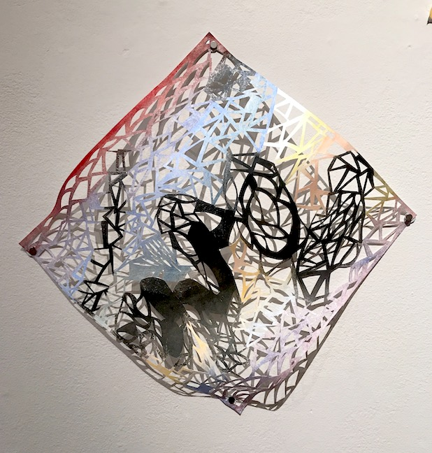 Leah Wong, River's Edge 1 , ink, acrylic, hand-cut Tyvek paper, painting, abstract, geometric, Sherrie Gallerie