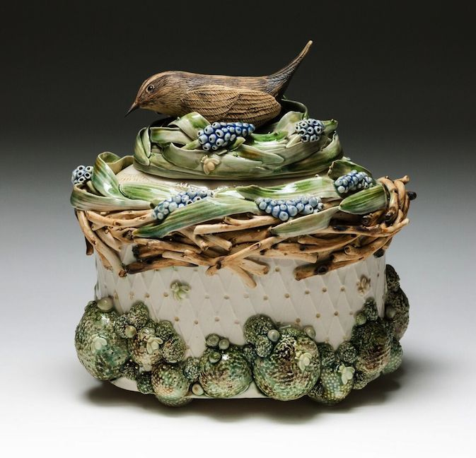 Claire Prenton, Wren and Grape Hyacinth Lidded Container , porcelain, ceramic, sculpture, vessel, vase, Sherrie Gallerie